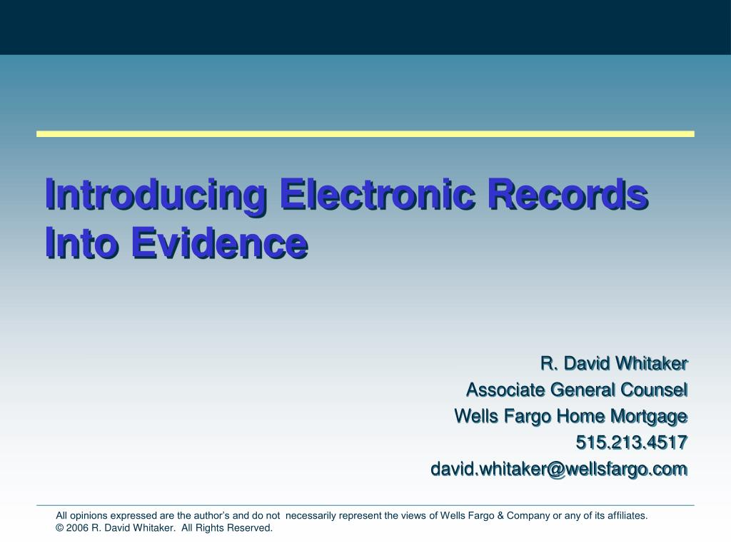 introducing electronic records into evidence l.