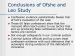 conclusions of ofshe and leo study