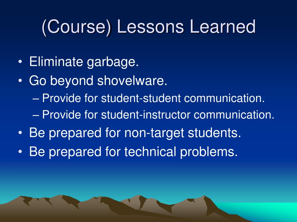 (Course) Lessons Learned