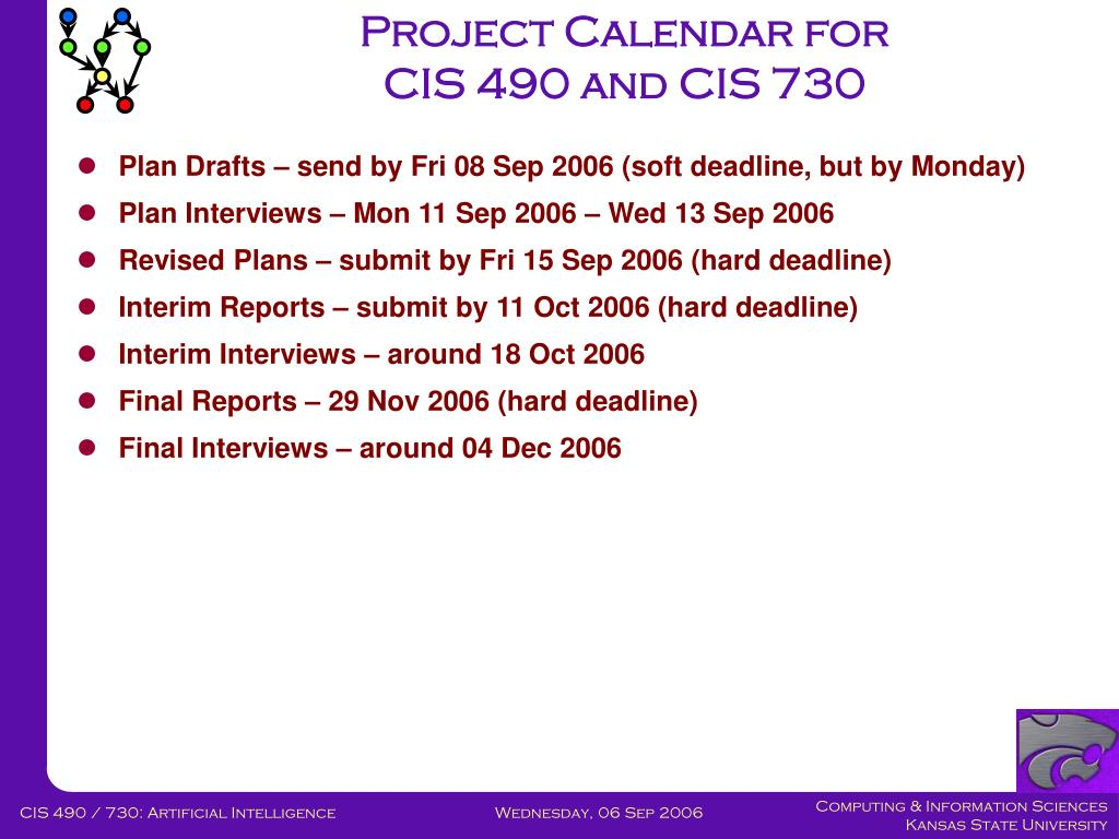 Project Calendar for