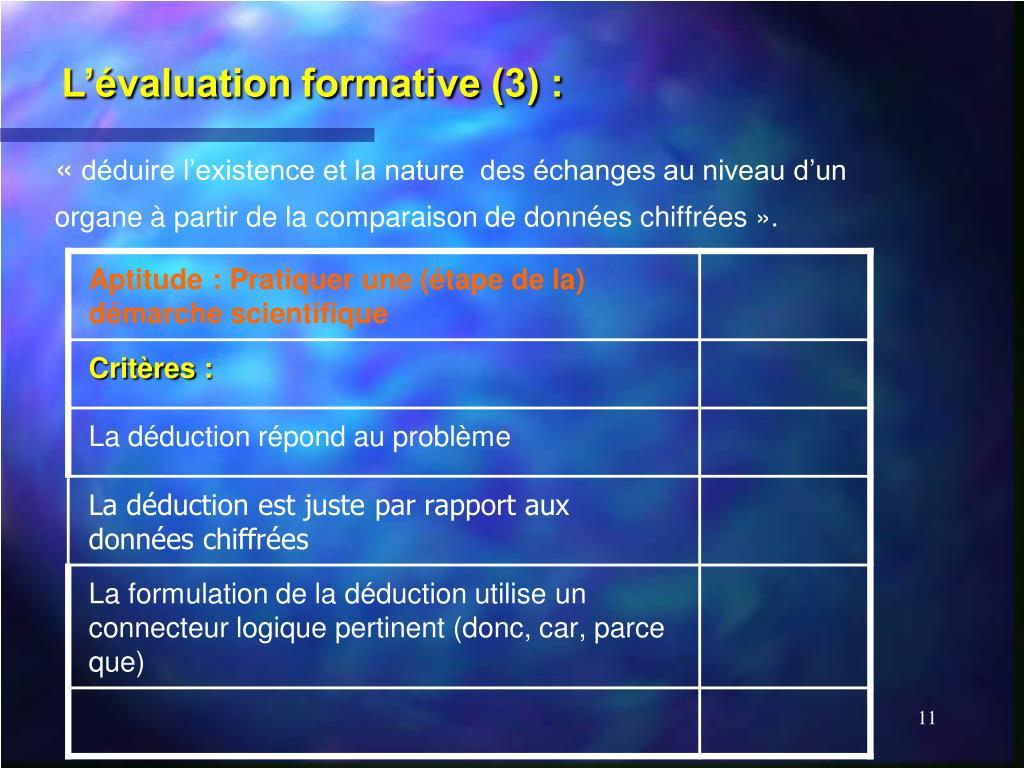 L'évaluation formative (3) :