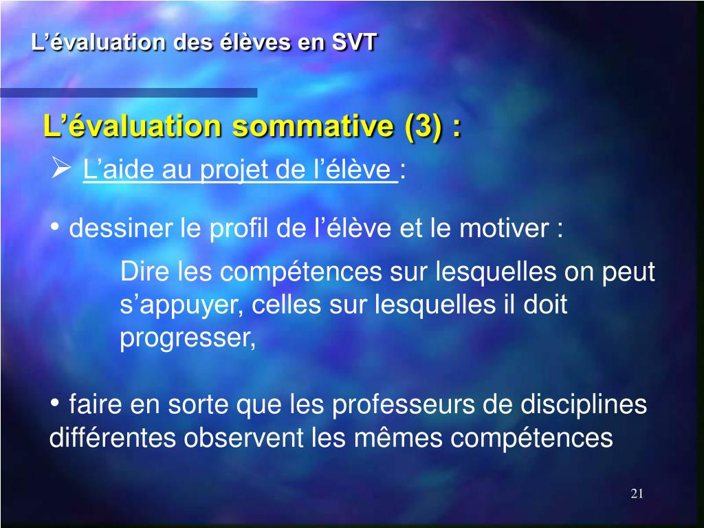 L'évaluation des élèves en SVT