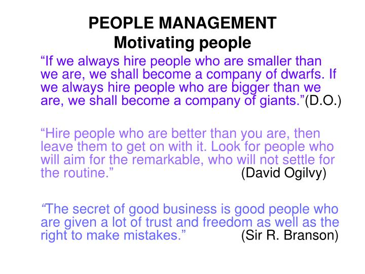 People management motivating people
