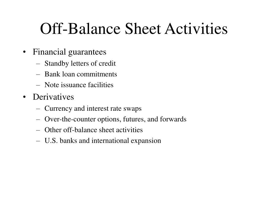 off balance sheet activities l.