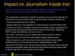 impact on journalism inside iran