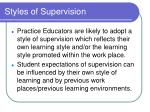 styles of supervision