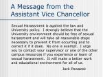 a message from the assistant vice chancellor