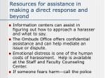 resources for assistance in making a direct response and beyond