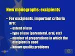 new monographs excipients