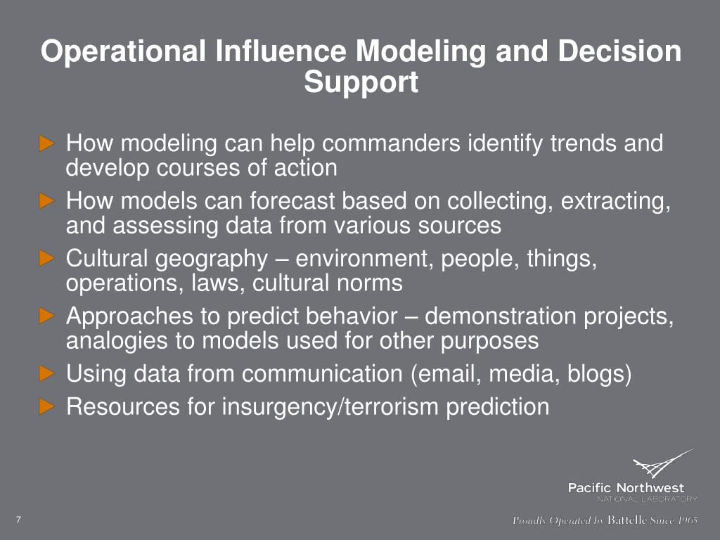 Operational Influence Modeling and Decision Support