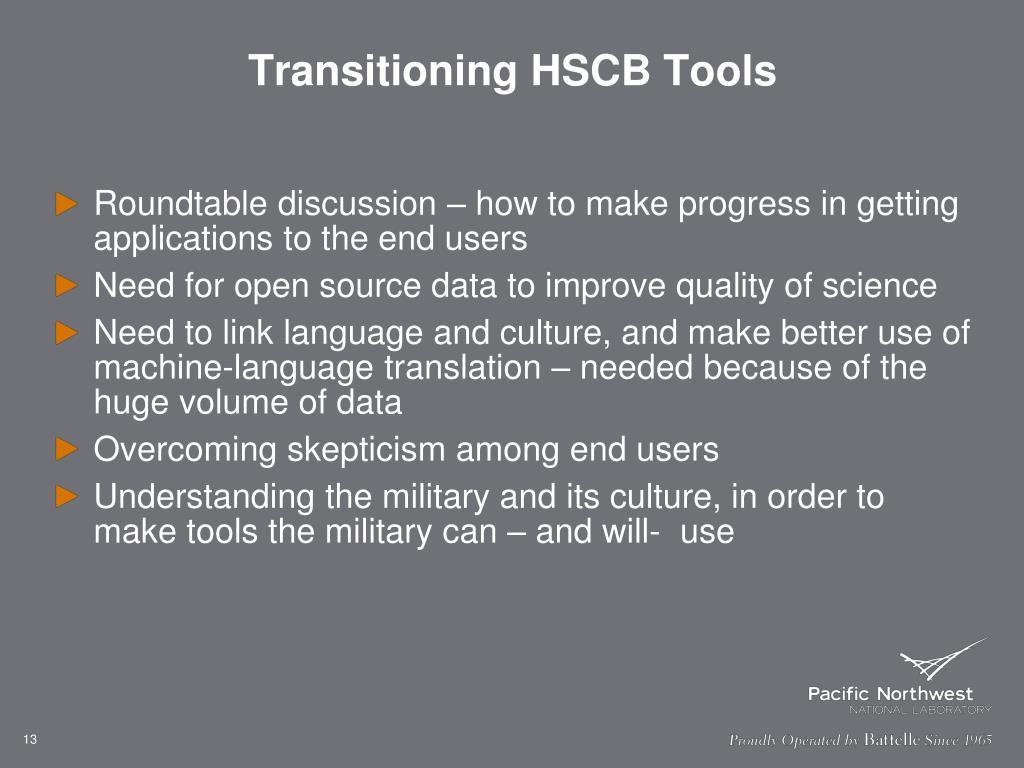 Transitioning HSCB Tools