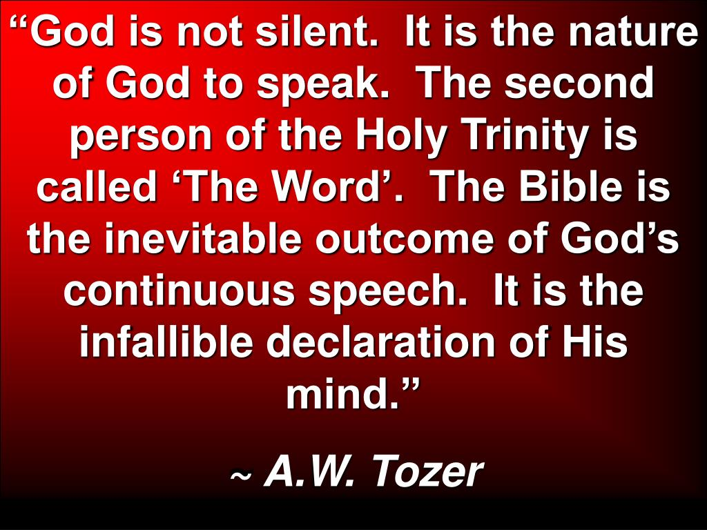 """God is not silent.  It is the nature of God to speak.  The second person of the Holy Trinity is called 'The Word'.  The Bible is the inevitable outcome of God's continuous speech.  It is the infallible declaration of His mind."""
