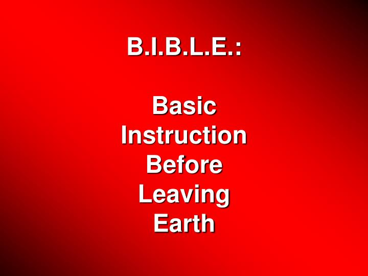 Ppt Bible Basic Instruction Before Leaving Earth Powerpoint