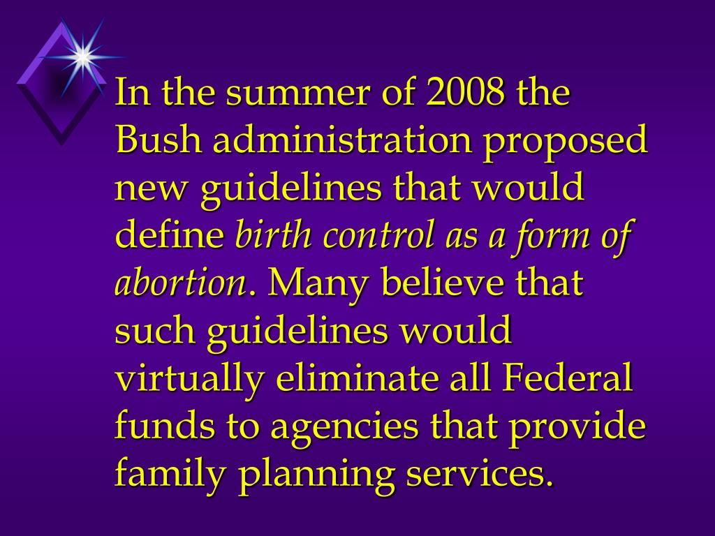 In the summer of 2008 the Bush administration proposed new guidelines that would define