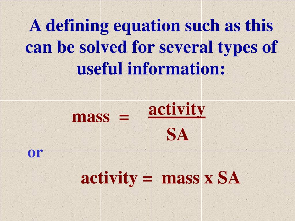 A defining equation such as this can be solved for several types of useful information: