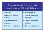 organizational factors that contribute to political behavior
