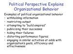 political perspective explains organizational behavior