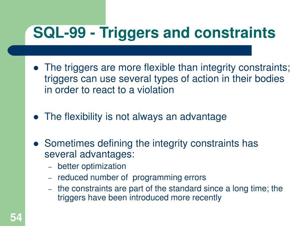 SQL-99 - Triggers and constraints