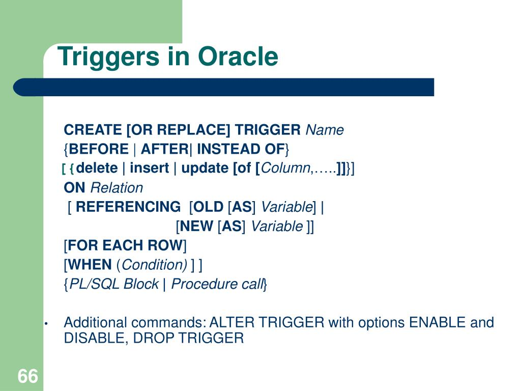 Triggers in Oracle