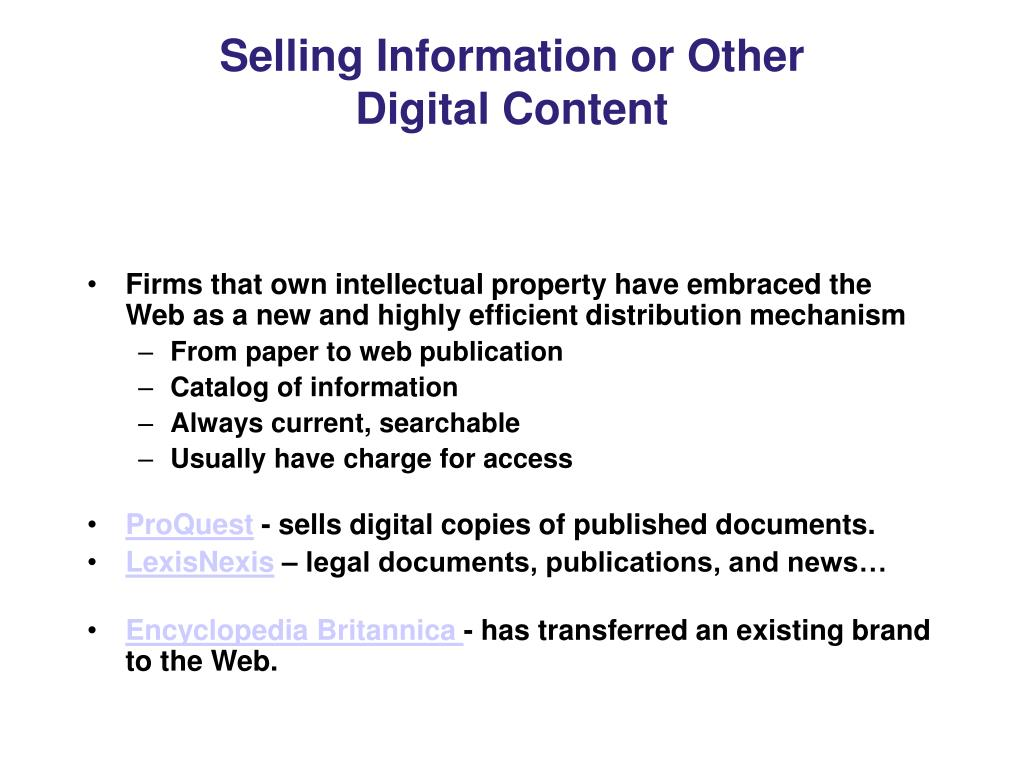 Selling Information or Other