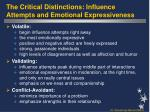 the critical distinctions influence attempts and emotional expressiveness