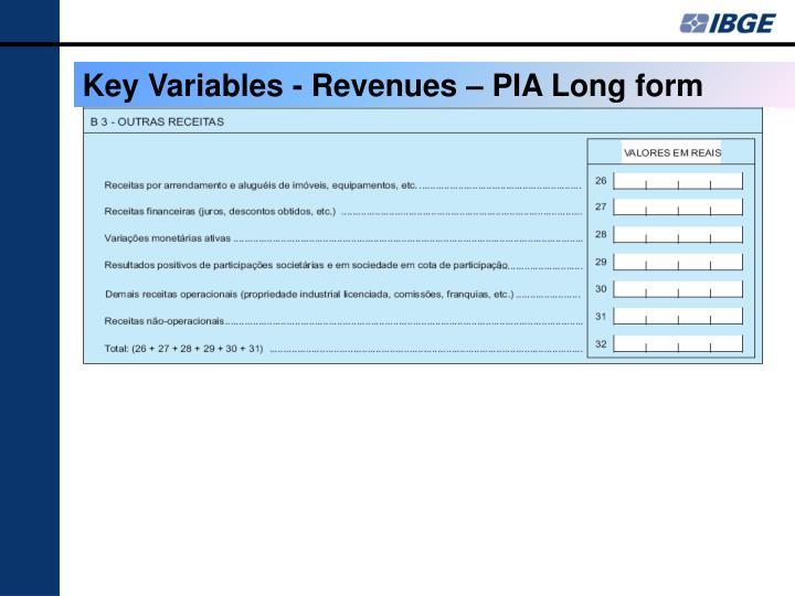 Key Variables - Revenues – PIA Long form