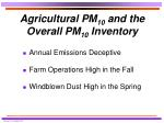 agricultural pm 10 and the overall pm 10 inventory