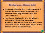 hawthorne as a literary artist