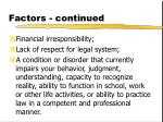 factors continued