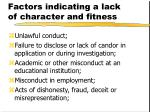 factors indicating a lack of character and fitness