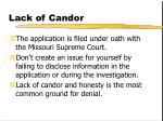 lack of candor