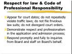 respect for law code of professional responsibility
