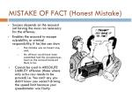 mistake of fact honest mistake