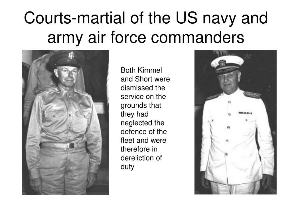 Courts-martial of the US navy and army air force commanders
