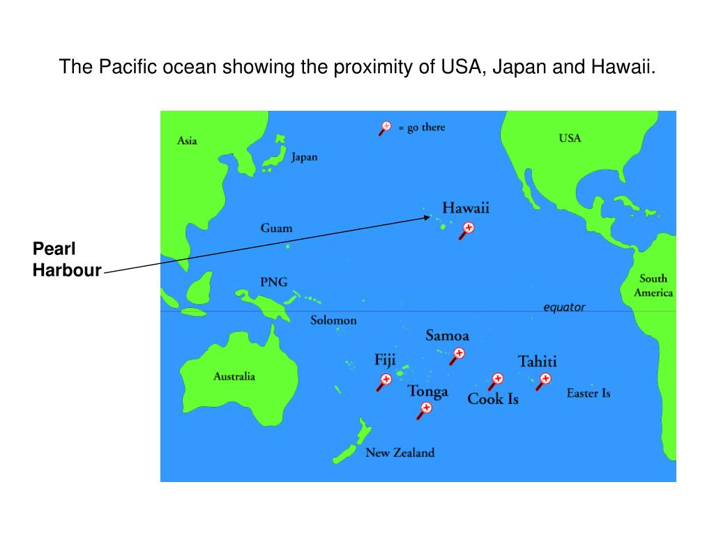 The Pacific ocean showing the proximity of USA, Japan and Hawaii.