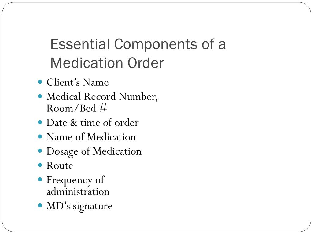 Essential Components of a Medication Order