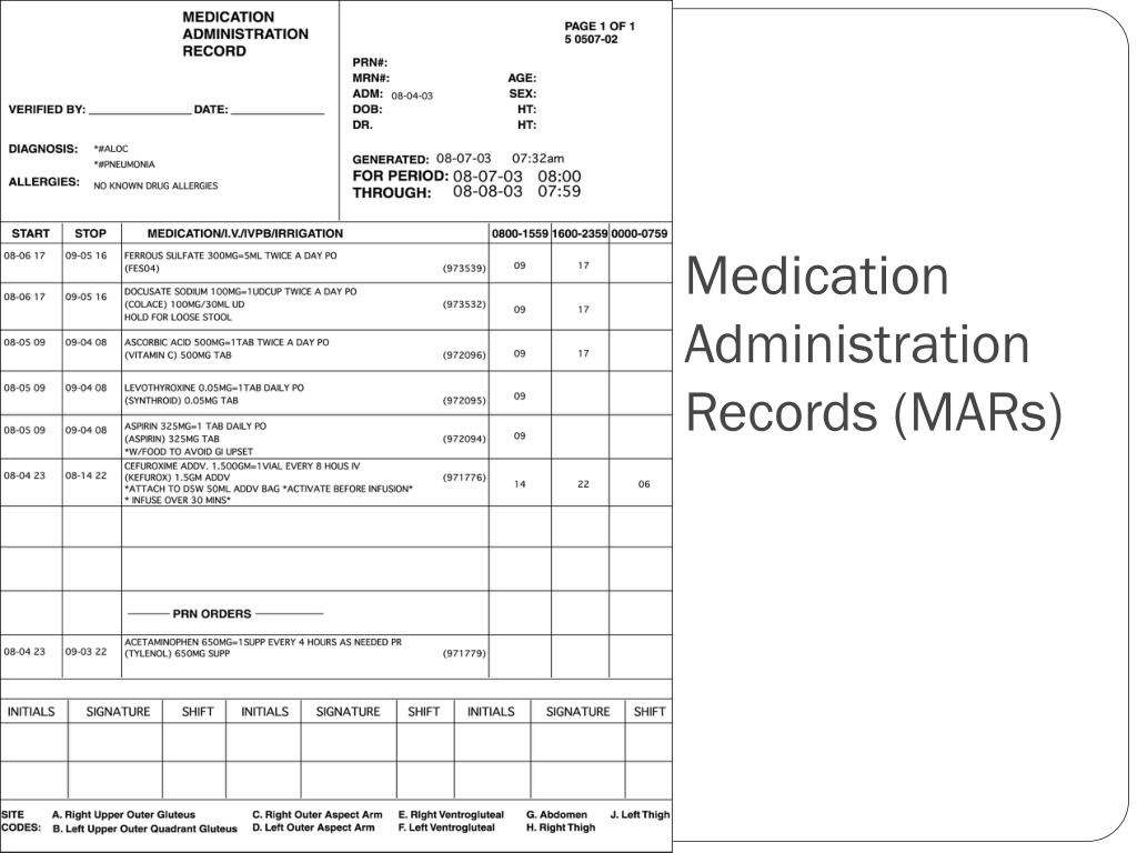 Medication Administration Records (MARs)