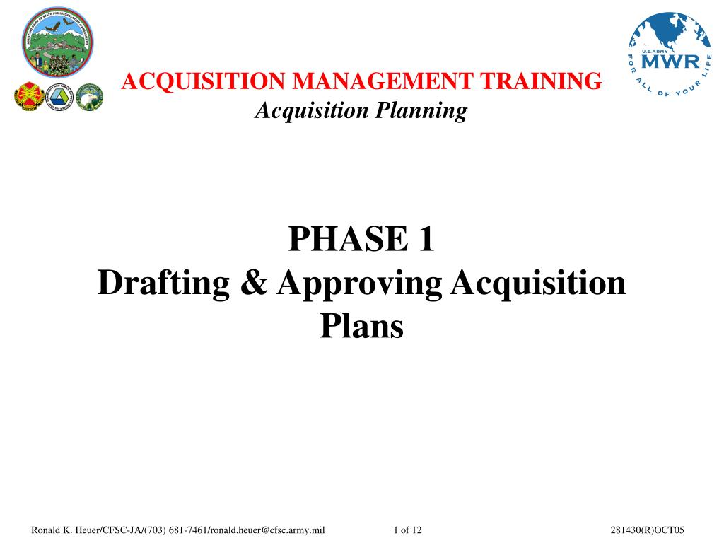 phase 1 drafting approving acquisition plans l.