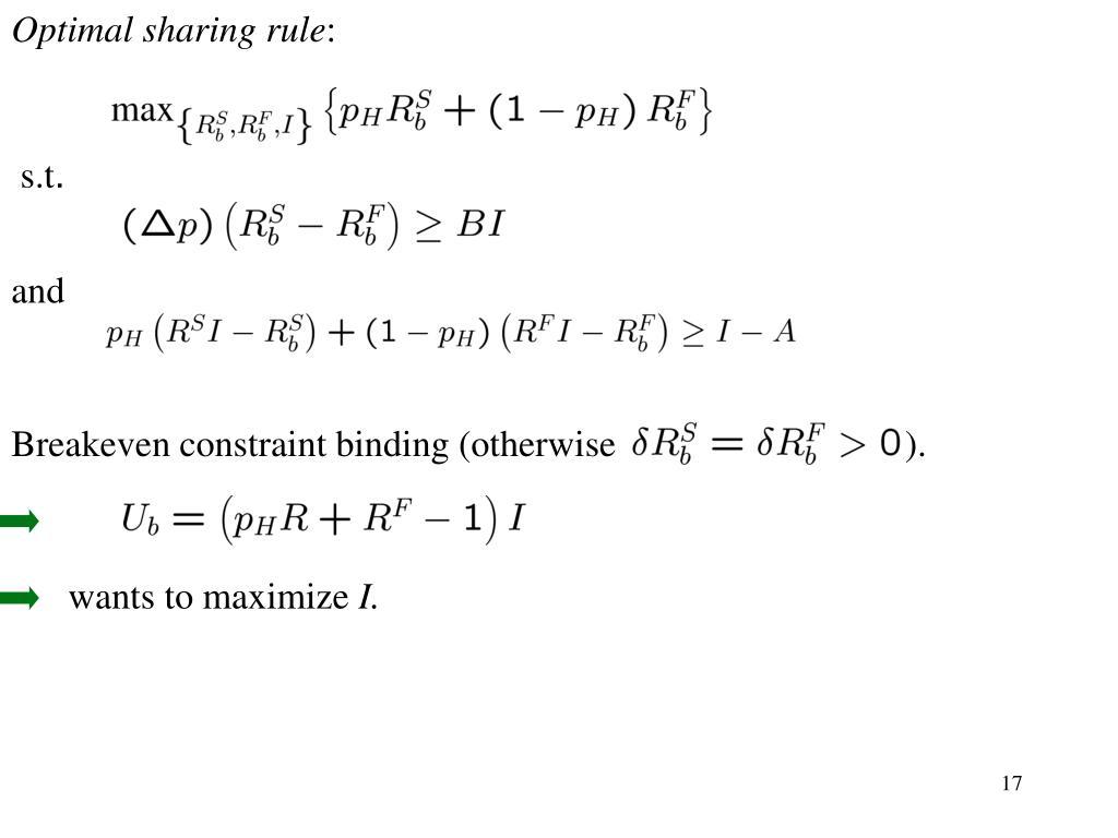 Optimal sharing rule