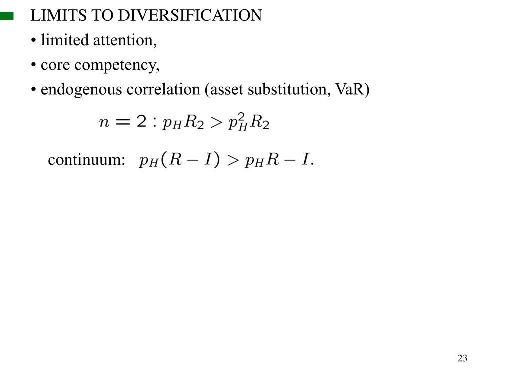 LIMITS TO DIVERSIFICATION