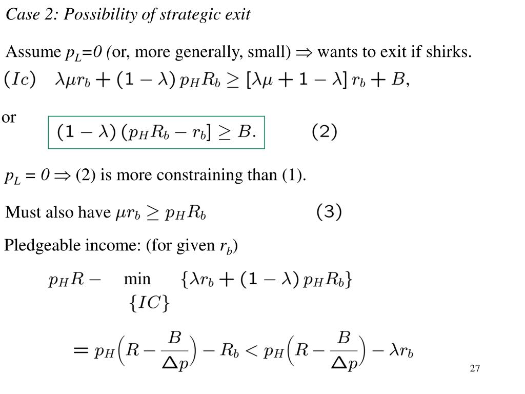 Case 2: Possibility of strategic exit