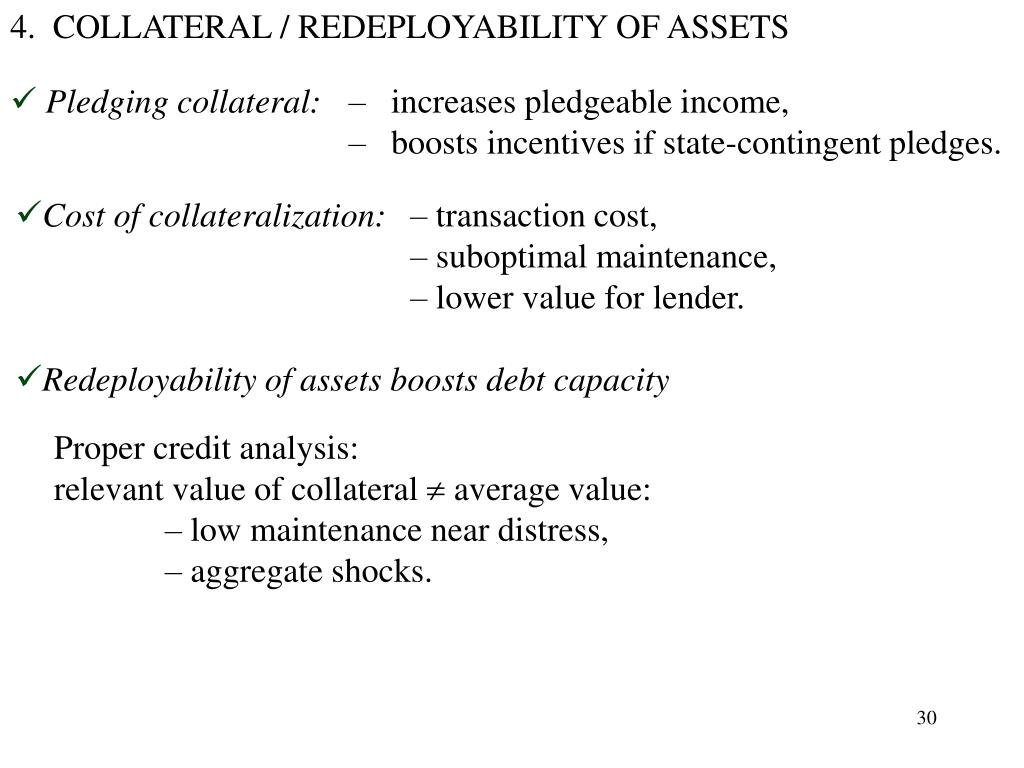 4.  COLLATERAL / REDEPLOYABILITY OF ASSETS