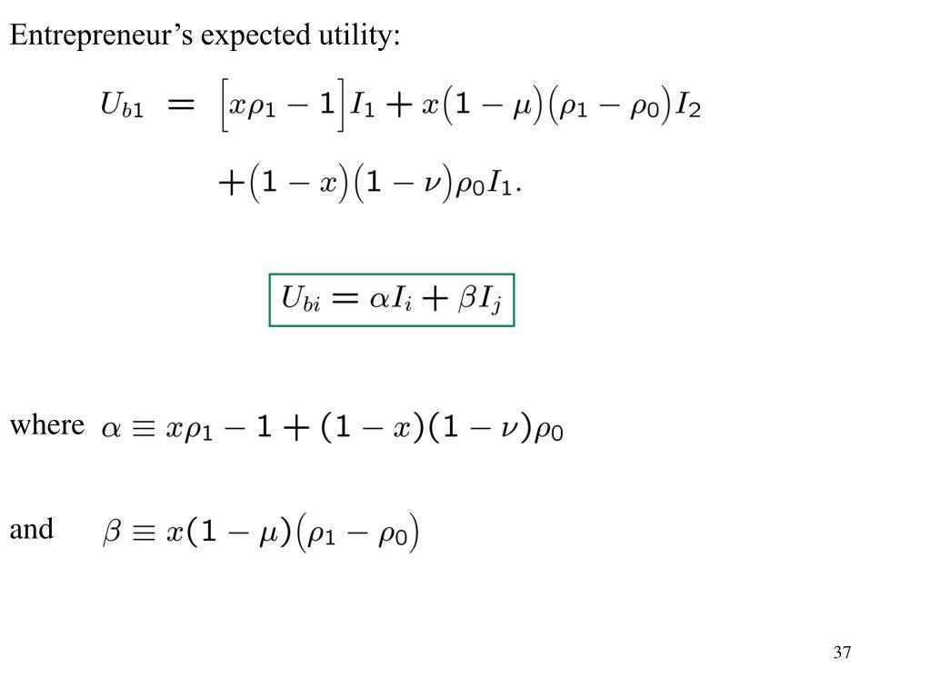 Entrepreneur's expected utility: