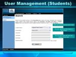 user management students