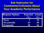 ask instructor for comments criticisms about your academic performance