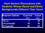 have serious discussions with students whose racial and ethnic backgrounds different than yours