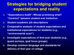 strategies for bridging student expectations and reality