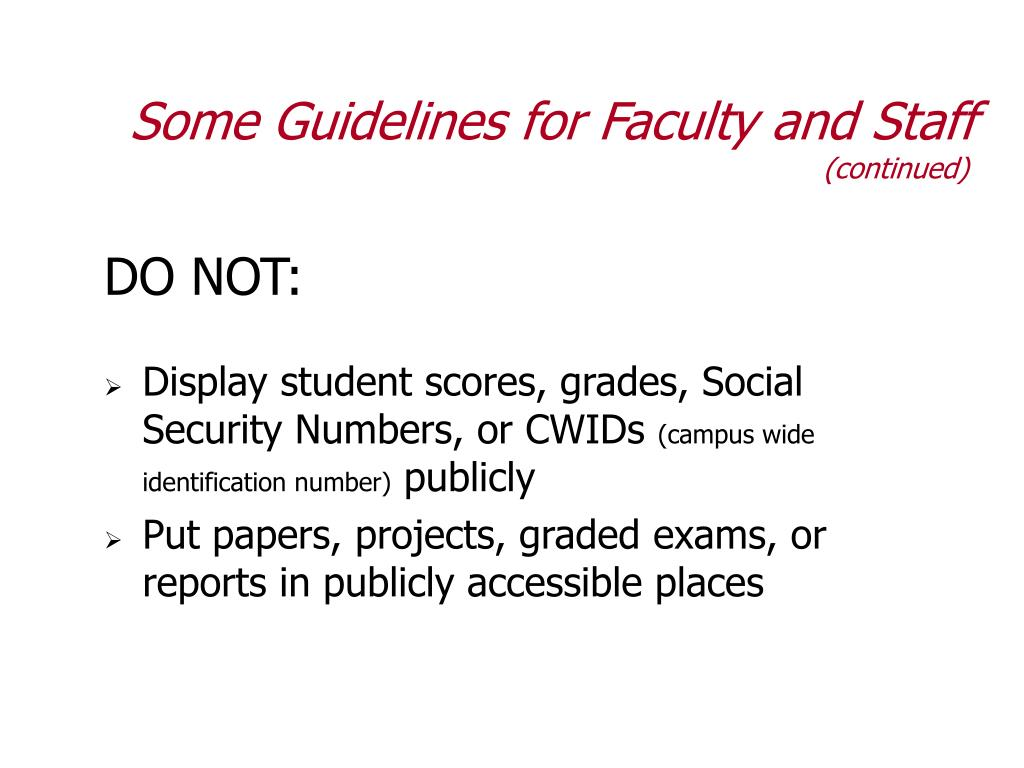Some Guidelines for Faculty and Staff