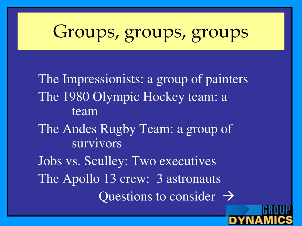 group dynamics 2 essay Read this essay on group dynamics essay come browse our large digital warehouse of free sample essays get the knowledge you need in order to.