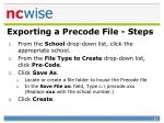 exporting a precode file steps